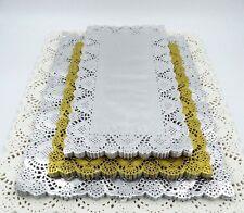 Gold / Silver Rectangle Foil Paper Lace Doilies Party Wedding