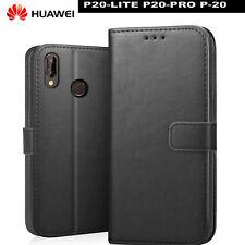 COVER Huawei P20 LITE CUSTODIA PORTAFOGLIO pelle PREMIUM Porta Tessere + VETRO