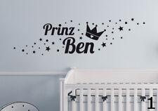 Prinz + Name Sterne Kinderzimmer Wunschname Baby Geburt Wandaufkleber WandTattoo