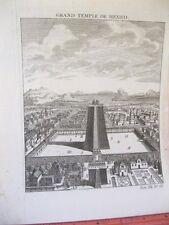 Vintage Print,GRAND TEMPLE DE MEXICO,18th Century,Laid Paper
