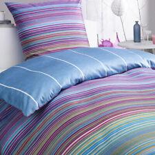 Bettwäsche Set Jeans multicolor Streifen gestreift bunt blau mehrfarbig Satin