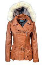 FEMININE Ladies Hooded Jacket Tan Fashion Winter Fur Hoodie Leather Jacket 2812