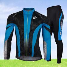 Herren Radsport Atmungsaktiv Thermo Fahrradtrikot & Fahrradhose Langarm Blau