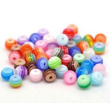 5 10 25 50 100 6mm résine acrylique à rayures multicolores arc en ciel perles rondes
