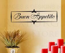 Wall Decal Art Sticker Quote Vinyl Decorative Buon Appetito Italian Kitchen KI30
