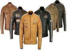 Veste en cuir pour moto,Homme Rétro Café racer moto style motard veste en Cuir