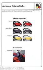 Smart Farben Prospekt 2001 brochure paintwork Auto PKWs Autoprospekt Broschüre