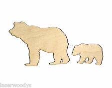 MaMa Bear & Cub (2 Pcs) Unfinished Wood Shapes MC5749 Crafts Lindahl Woodcrafts
