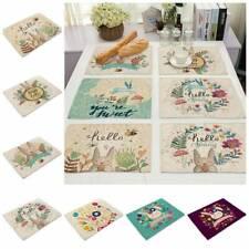 Cartoon Cute Rabbit Placemat Cotton Linen Home Dining Kitchen Table Mat Cup Pads
