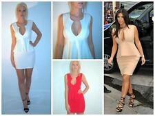 Peplum Plunge Neckline Bodycon sleeveless Deep V  Mini  Dress Red ,Off White B1