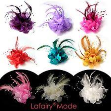 Haarblumen mit Feder Perle Fascinator Ansteckblume Haarclip Haarschmuck lafairy