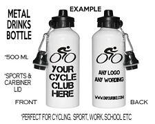 Personalised Metal Sport Water Drink Bottle Cycling Club Logo Bike Cycle Gift
