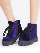 YRU Slayr Purple Velvet Punk Emo Goth Rocker Vegan Adult Womens Boots Shoes