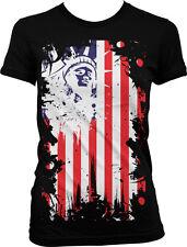 Statue of Liberty USA Flag Patriotic Americana Juniors T-shirt