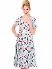 Banned Kleid Rockabilly Rockabella Hellblau Kirschen Petticoatkleid 50s  5001