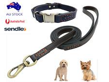Genuine Leather Small Dog Leash Collar Harness Set -Black-Brown