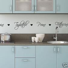 Nomi di Pasta Cucina Adesivi Murali-Wall Sticker con pasta parole e cuori