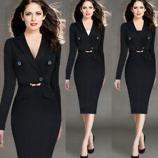 Women's Office Formal Suit Dress Slim Long Sleeve Bodycon Pencil Dress Elegant