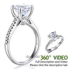 14K White Gold Wedding Engagement Ring 2 CT Topaz 0.18 CT Natural Diamonds