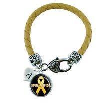 Custom Spina Bifida Awareness Yellow Leather Bracelet Jewelry Initial Family