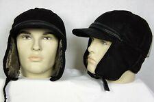 Black 100% Sheepskin Shearling Leather Hat Elmer Fudd Trapper Hunting M-3XL, NWT