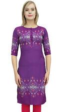Tunique des de Bimba manches 3/4 violet kurti imprime robe Kurta usure ethnique