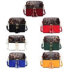 Fashion Leopard Hit Color Messenger Bag Women PU Leather Shoulder Handbag #Cu3