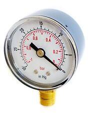 Calibrador De Vacío 40 mm Dial -30 * Hg & -1 / 0 bar 1/8 Bspt inferior y/o Manguera Tails