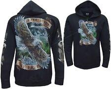 Wolf Eagle Native American Indian Biker Zip Zipped Hoodie Hoody Jacket M - 3XL