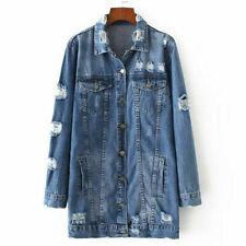 NEW Women's Shirt Collar Cotton Long Distressed Rips Denim Jean Jacket Oversized
