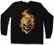 BURNING SKULL II LANGARM T-SHIRT Brennender Schädel Dead Totenschädel Totenkopf