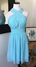 Lulus Short Light Blue Green Chiffon Short Skater Bridesmaid Dress Halter Twist