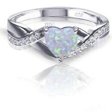 Australian Moon Stone Opal Heart Cut Infinity Celtic Ring Size 4 - 10