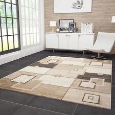 Wohnzimmer Teppich Braun Beige Kariert Retro Muster Modern Design VIMODA NEU