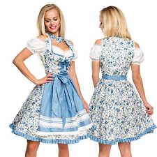 Dirndl Set Tracht Kleid Trachtenkleid Floral Oktoberfest Wiesn Weiß Blau Damen