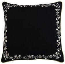 taie d'oreiller en coton noir floral coussin carré cas canapé taie