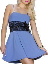 SeXy Miss Damen Träger Mini Kleid Spitze Borde Schwarz Dress 32/34/36 blau Neu