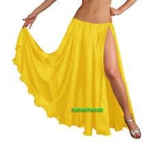 Yellow - Satin 2 Slit Full Skirt Belly Dance Gypsy Tribal 9 Yard Panel Jupe