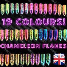 CHAMELEON FLAKES Multi Chrome Powder Color Shifting Nails Rose Gold Paillette UK