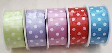 38mm Polka Dot Ribbon 5m,10m,20m Lilac,LimeGreen,Red,Pink, Blue, Ivory,Cream