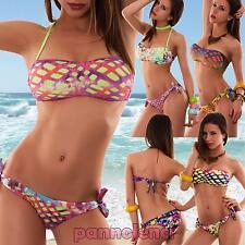 Bikini donna costume da bagno sfumato fascia rombi due pezzi bandeau nuovo V1432