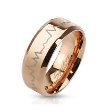 Coolbodyart AF Edelstahl Unisex Ring rosegold Herzschlag Heartbeat Laser Etched