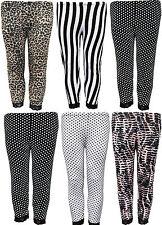 New Womens Ladies Plus Size Leopard Animal Stripes 3/4 Lace Leggings 14 18 24 26