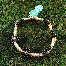 HOTI Hemp Handmade Natural Black Flower Wood Beaded Floral Anklet Ankle Bracelet