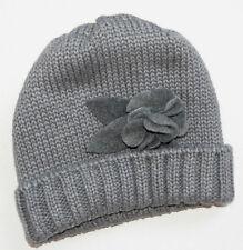 Catya Mütze Mädchen 3D Blumen Wolle Grau Warmfutter Winter Gr. III-V 3-8 J Neu