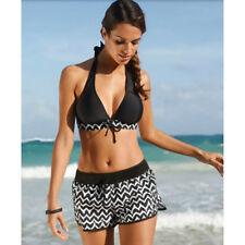 Womens Plus Size Halter Bikini Set With Shorts Push Up Swimwear Stripe Swimsuit