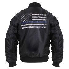 MA-1 Style THIN BLUE LINE Flight Jacket Police SWAT LEO  Aviation Bomber Black