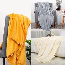 Flannel Blanket with Pompom Fringe Lightweight Bed Blanket Soft Throw  for Sofa