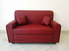 divano 2 posti ecopelle pelle con 2 cuscini salotto divanetto divani sofà bordò
