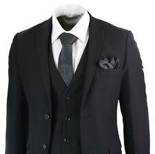 Costume noir 3 pièces homme coupe ajustée style classique formel